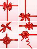 Big set of red gift bows