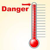Danger Thermometer Indicates Mercury Celsius And Beware