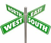 North South East West 4 Way Green Road Signs Intersection