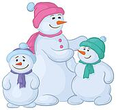 Snowmens mother and children