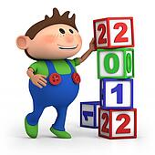 boy stacking 2012 number blocks