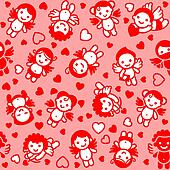 Cupids set, red icons