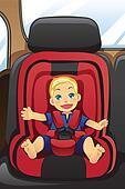 Boy in car seat