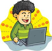 Boy Playing Laptop