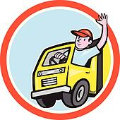 Delivery Truck Driver Waving Circle Cartoon