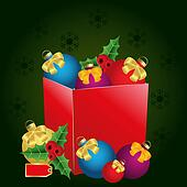 christmas gift box with price tag,