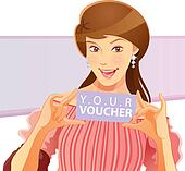 Pretty Girl Holding Voucher