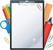 Clipboard and tools.