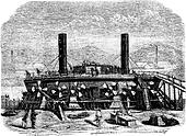 The Popovkas view from the back, New Russian coast guard, Drawing Jahandier, vintage engraving.