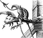 Gargoyle of the sixteenth century, a Neuchatel (Switzerland), vintage engraving.