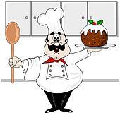 Christmas pudding & chef