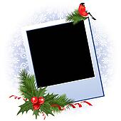 Christmas photo frame with holly berry