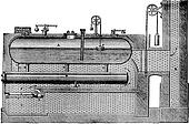 High pressure steam generator, vintage engraving.