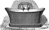 Copper bathtub vintage engraving
