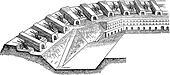 Artillery batteries on place vintage engraving