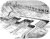 Old engraved illustration of Artillery batteries on terreplein during siege. Industrial encyclopedia E.-O. Lami - 1875.