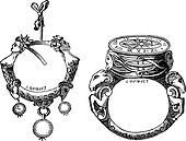 The earring and the ring of the sixteenth century vintage engraving