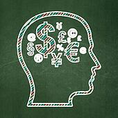 Advertising concept: Head With Finance Symbol on chalkboard background