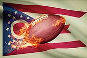 American football ball with flag on backround series - Ohio