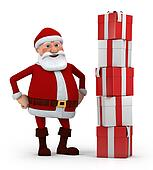 santa with stack of presents