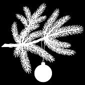 Silhouette of Pine tree branch with Christmas ball