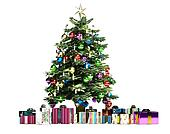 Christmass tree with several gifts