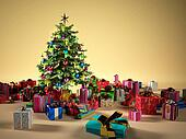 Christmas tree with several gifts