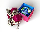 Gift package, with planet earth inside