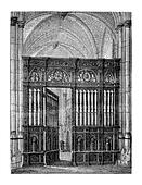 Closing of the choir (oak) of the Cathedral of Lisieux. - Drawing Catenacci, vintage engraved illustration. Magasin Pittoresque 1875.