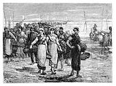 The. Cancale the boats return, statement of Eugene Feyen. - Drawing Sellier, vintage engraved illustration. Magasin Pittoresque 1875.