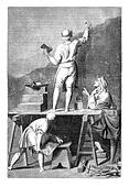 Preparation of the coating to paint a mural. - Drawing of L. -Chevignard, for after Andrea Pozzo, vintage engraved illustration. Magasin Pittoresque 1875.