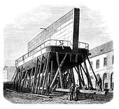 Port of Brest. - Boat-iron gate (1). - Drawing Ph. Blanchard, vintage engraved illustration. Magasin Pittoresque 1875.