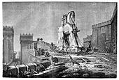 Salon of 1874, Painting. - The Trojan Horse, by Motte, vintage engraved illustration. Magasin Pittoresque 1875.