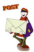 postman with bag and letter