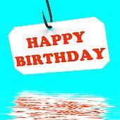 Happy Birthday On Hook Displays Birth Celebration Or Anniversary