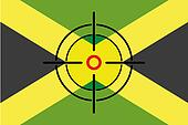 Sniper Scope on the flag of Jamaica