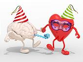 brain and heart with arms, legs on carnival party