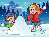 Two kids throwing snow balls