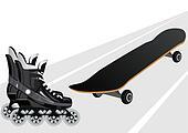 Roller skates and skateboards