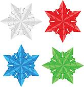 Four colorful paper snowflakes