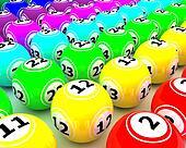 a set of colored bingo balls
