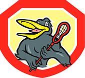 Black Bird Lacrosse Player Shield Cartoon