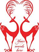 red deers with heart