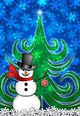 Snowman in Winter Snow Scene