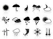 black weather icon set