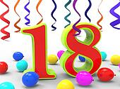 Number Eighteen Party Showing Teenager Birthday Party Or Celebration