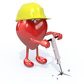 heart with arms, legs, work helmet and jackhammer