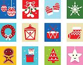 Christmas Advent Calendar elements 1 - isolated on white