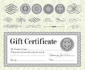 Vector Silver Certificate and Ornament Set