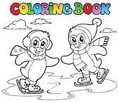 Coloring book skating penguins
